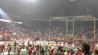 Rion Paige singing National Anthem at Jacksonville Sharks Game
