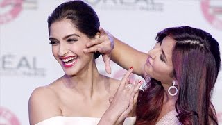 Katrina Kaif Kisses Sonam Kapoor at the L'Oreal New Cannes Collection Event