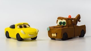 LIGHTNING Strikes ⚡️ Mater Cruz Ramirez Lightning McQueen Jackson Storm Making Play-Doh STOPMOTION
