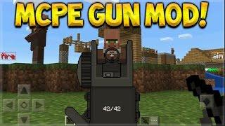 MCPE GUN MOD!! Minecraft Pocket Edition 1.0 Machine Guns, Shotguns, Snipers & More!!