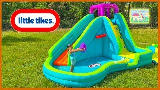 HUGE INFLATABLE WATER SLIDE LITTLE TIKES + Giant Egg Surprise Toys Disney Cars Paw Patrol Bath Toys