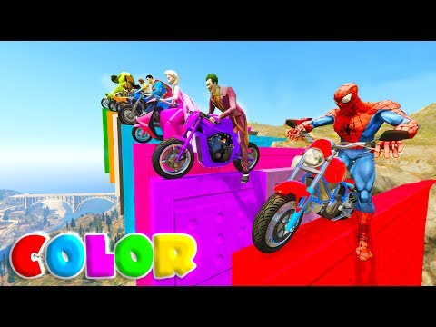 LEARN COLORS w/ SUPERHEROES CLIFF JUMP on Motorcycles Cartoon for kids and babies
