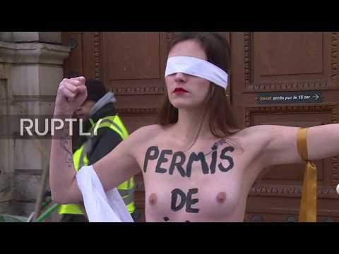 Xxx Mp4 France Topless FEMEN Activists Protest Proposed Rape Law Changes In Paris EXPLICIT 3gp Sex