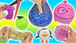 Cutting Open Squishy Grapes Toy! Homemade Stress Balls! Gold Star Slime Mesh Ball Doctor Squish