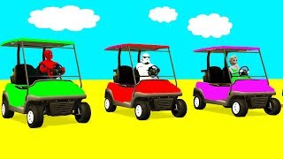 LEARN COLOR Small CARS & ATV Trucks - Spiderman for Kids w 3D Superheroes Cartoon for Children