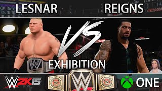 WWE 2K15 (Xbox One) - Brock Lesnar vs Roman Reigns Falls Count Anywhere FULL MATCH