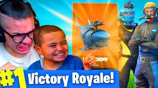 *NEW* INSANE UNDERWATER SKINS! *NEW* GOLD LASER CHOMP GLIDER FORTNITE BATTLE ROYALE 9 YEAR OLD KID!