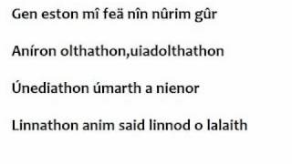 Sindarin translation -A song from