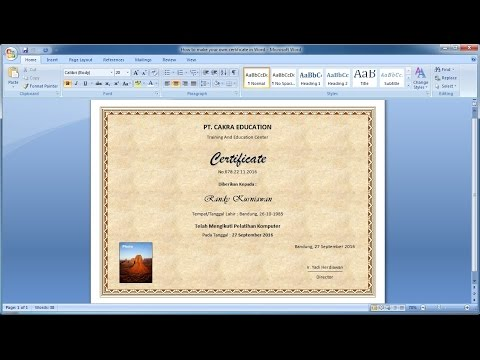 How to make your own certificate in Word Learn ms word easily