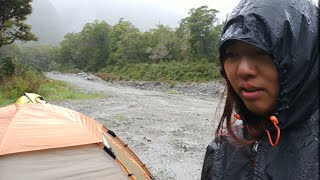 Very hard raining in NZ while Cycling and Camping