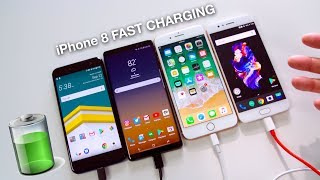iPhone 8 Plus Fast Charging vs Note 8 // OnePlus 5 // HTC U11! (60 min)