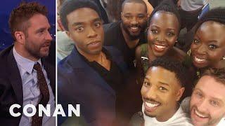 "Chris Hardwick Awkward ""Black Panther"" Photobomb  - CONAN on TBS"
