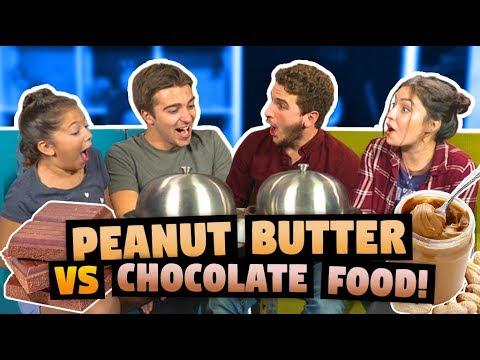 PEANUT BUTTER VS CHOCOLATE FOOD CHALLENGE ft. React Cast