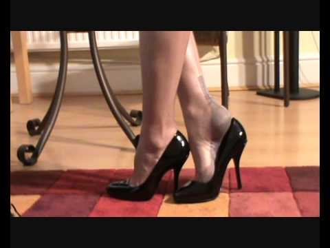 Shoe play in my patent pumps and grey FF Nylon Stockings legsnfeetntoes