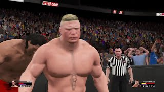 WWE 2K15-  Brock Lesnar vs Great Khali Fall Count Anywhere  Match (PS4)
