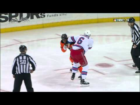 Gotta See It Simmonds & McIlrath trade fists after jawing during warmups