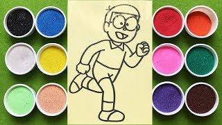 Đồ chơi trẻ em TÔ  MÀU TRANH CÁT NÔBITA, Learn Colors Sand Painting Nobita (Chim Xinh)