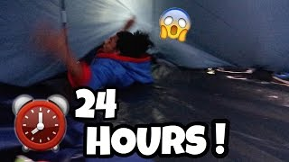 24 HOUR OVERNIGHT In HAUNTED FOREST FORT! (SCARY!)