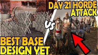 HUGE DAY 21 HORDE vs BEST BASE DESIGN + TRAPS YET! - 7 Days to Die Alpha 16 Gameplay Part 42 (S2)