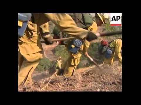 Firefighters tackle blaze outside Los Angeles