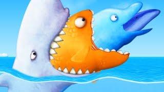 GIANT SHARK EATS GIANT GOLDFISH AND DOLPHIN - Tasty Blue Part 6   Pungence