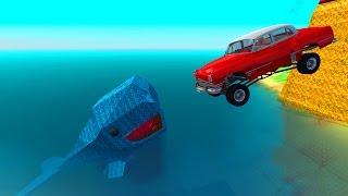 CRASH TESTING Jumps Into HUGE WHALE - BeamNG DRIVE
