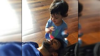Dhoni playing with her daughter Ziva, cutest thing you will see today