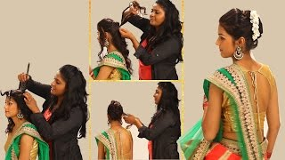 Indian Simple Hairstyles For Wedding to Do Yourself-Twist and Flip Bun-Hairstyle forTraditional Sari