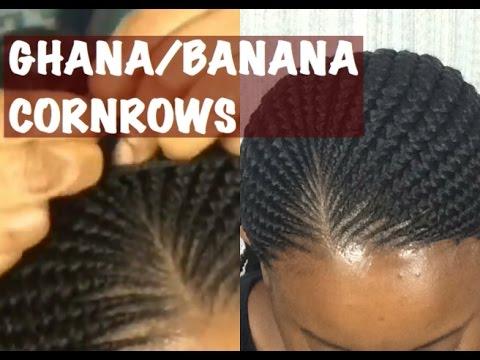 GHANA BANANA CORNROWS TUTORIAL detailed slow motion