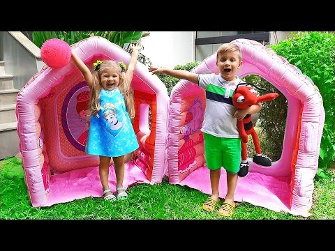 Xxx Mp4 Diana Pretend Play With Giant Indoor Inflatable Playhouse Kids Toy 3gp Sex