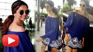 Deepika Padukone In Off Shoulder Mini Dress At Mumbai Airport