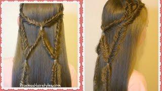Angel Wings Fishtail Braid Tie Back Hairstyle