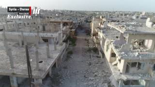 مشاهد جوية حصرية للدمار الواسع في الأحياء السكنية بدرعا البلد نتيجة القصف الجوي