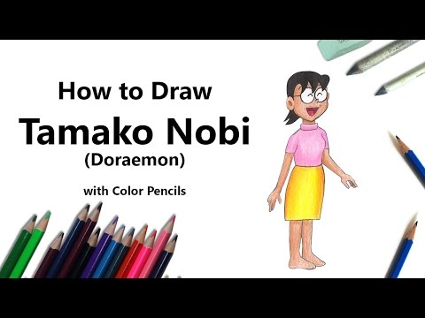 How to Draw Tamako Nobi from Doraemon with Color Pencils [Time Lapse]