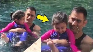 Ziva Dhoni Swimming With Dad MS Dhoni Is So Adorable