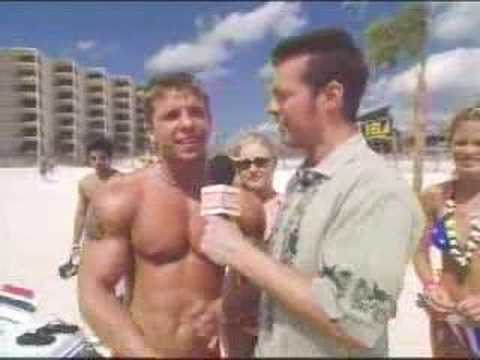 Young muscle at the beach