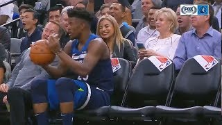 Jimmy Butler Takes A Break During The Game and Talks To Courtside Fans! Spurs vs Timberwolves