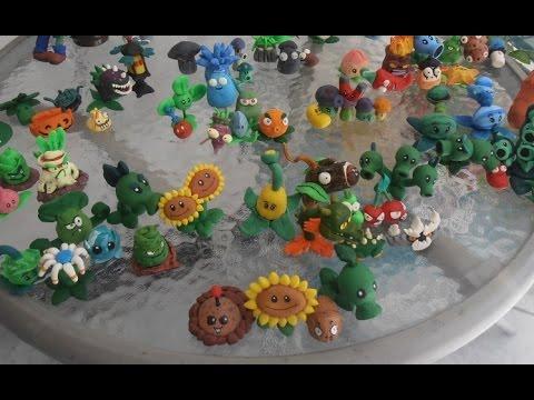 Растения против зомби поделки из пластилина