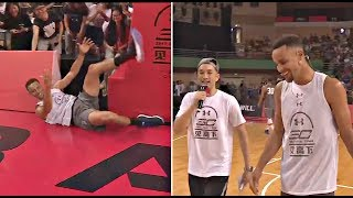 Stephen Curry Makes Fun of Klay Thompson 360 Fail Dunk On China Tour
