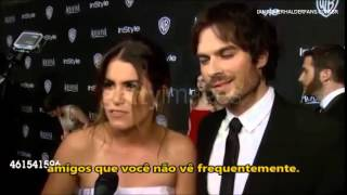 Nikki Reed with Ian Somerhalder on Interview - Golden Globe After-Party 2015 [Legendado]