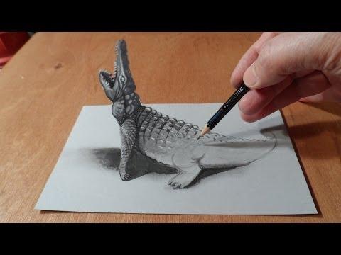 Art 3D Drawing Crocodile - Visual Illusion