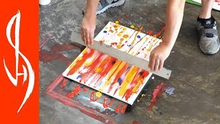 Tempera Abstract Painting Demonstration - Easy Swiping and Blending Technique