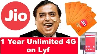 1 Year Free Unlimited 4G for Lyf Phone Users on Jio
