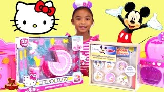 Hello Kitty Birthday Party Cake Mickey Mouse Wooden Slice Bake Cookie Set Unboxing