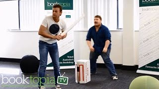 Adam Gilchrist plays Office Cricket at Booktopia
