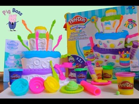 Play Doh pai Brincando de massinha com filha Fábrica de Bolo Cake Mountain Sweet Shoppe Unboxing