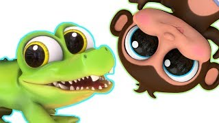 5 Little Monkeys and Mr. Crocodile | Learn Subtraction | Learn Counting