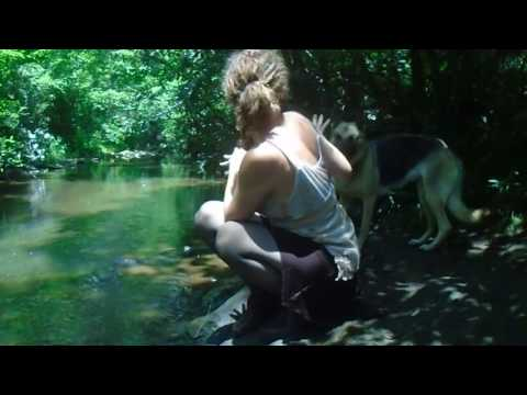Jess in the Wild getting wet in sheer black pantyhose