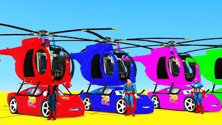 LEARN COLOR McQueen CARS and Helicopter SUPERHEROES 3D Animation for Children Kids Toddlers