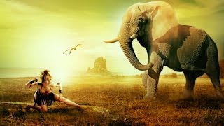 Women warrior vs Elephant  Photoshop Manipulation part 1
